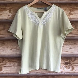 🆓 Analogy embroidered notched v-neck tee size XL